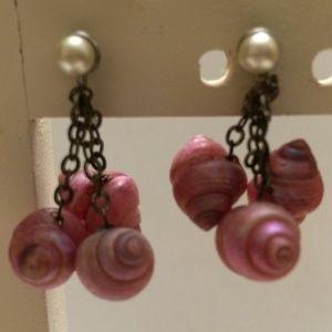 Vintage Pink Shell Dangle Earrings